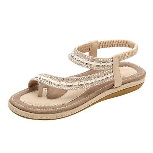 (❤LuluZanm Platform Sandals for Women,Sale Ladies Clip-Toe Flat Sandals Elastic Band Shoes Durable Hollow Out Sandals Beige)