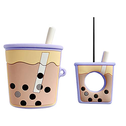 Morenitor Food Airpods Case Keychain, Creative Cute Cartoon Black Pearl Milk Tea Cup Silicone Protective Cover and Skin with Hook Clip for Apple Airpods 1 2 Charging Case (Purple)