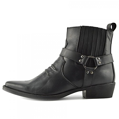 Kick Footwear Mens Cowboy di Pelle Alla Caviglia Biker Stivali Western - UK 8/EU 42, Nero - 2