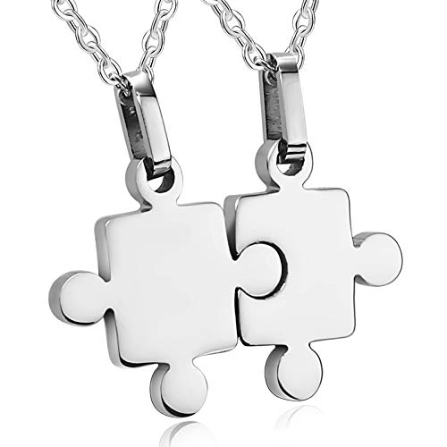ANAZOZ Jewelry Stainless Steel Men,Women's Two Puzzle Pieces Pendant Set Silver Pendant Necklaces with Free Engraving Service