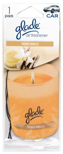 Glade Paper Candle Hanging Car and Home Air Freshener, French Vanilla Scent (Single-Pack)
