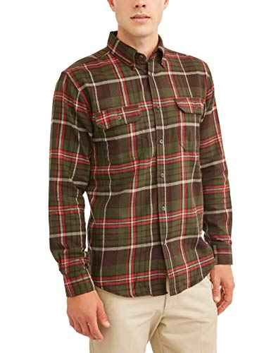 Two Pocket Flannel - Mens Long Sleeve Flannel Shirt (XL 46/48, Military Green)