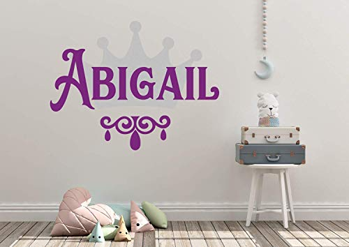 Personalized Custom Name Crown Princess Wall Decal Sticker Customized Sign Monogram Stencil Baby Girl Nursery Room Decor Mural Art Gift