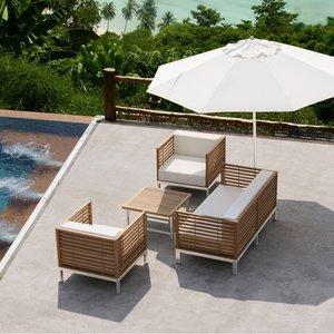 Salon de jardin haut de gamme Malé en teck et inox, coussins écru ...