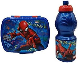 CM Pack 2pcs Botella de Agua plastico Infantil 400ml- Fiambrera sandwicheras para niños, cantimplora a Prueba de Fugas sin BPA (Azul-ara)