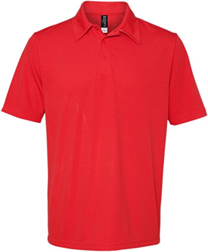 Red Polo Performance Birdseye - ZUZIFY Mens Performance 3 Button Birdseye Polo Shirt. BD0200 Large Sport Red