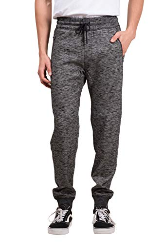 Cotton Sweatpants Blend (Brooklyn Athletics Men's Fleece Jogger Pants Active Zipper Pocket Sweatpants Black Streaky Small)