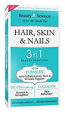Beauty Science Hair/Skin/Nails 3 In 1 Veggie Formula Capsule, 60 Count