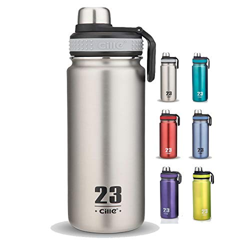 CILLE 24 oz Insulated Water Bottles, Double Walled Leak Proof Wide Mouth Bicycle Water Bottle for Sports (Silver)