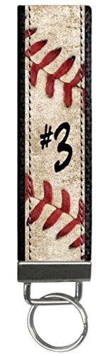 Snaptotes Personalized Baseball Player Number Baseball Stitch Design Wristlet Keyfob Keychain One Size