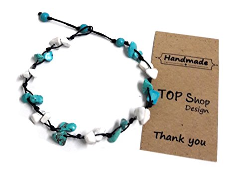 Stone Turquoise Mix Color Bead Anklet or Bracelet Beautiful 26 cm.Handmade for Women Teens and (Belly Dance Costumes For Teenagers)