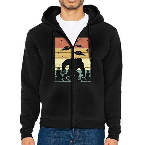 Bigfoot with UFO Men's Zipper Hooded Sweatshirts Coat