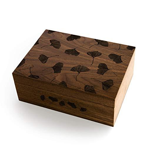 (Ginkgo Leaves Laser Cut Wood Keepsake Box (Wedding or Anniversary Gift/Love/Memory Box/Heirloom/Decorative/Handmade))