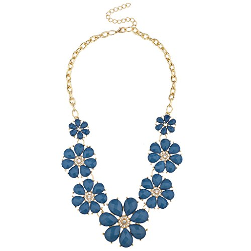Lux Accessories Gold Tone and Royal Blue Pave Flower Bib Statement Floral Chain Necklace (Crystal Gold Necklace Tone)