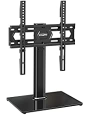 MOUNT PRO Swivel Universal TV Stand/Base - Table top TV Stand for 37-55 inch LCD LED TVs - 6 Levels Height AdjustableTV Mount Stand with Tempered Glass Base, Holds up to 88lbs, Max VESA 400x400mm