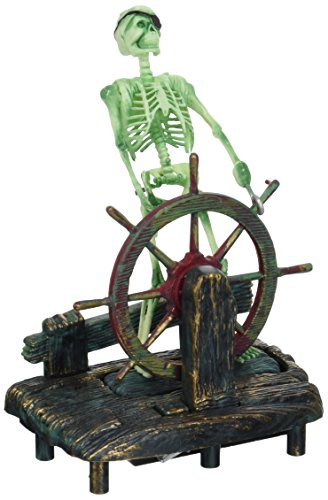Penn Plax Aerating Action Ornament, Skeleton at The Wheel - Moving Decoration