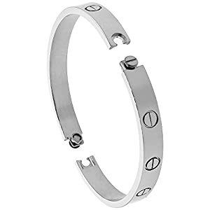 Stainless Steel Screws Bangle Bracelet for Women Oval High Polish 7mm wide, fits 6.5 - 8 inch wrists