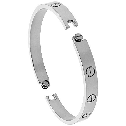 Stainless Steel Screws Bangle Bracelet for Women Oval High Polish 7mm wide, fits 7 inch wrists