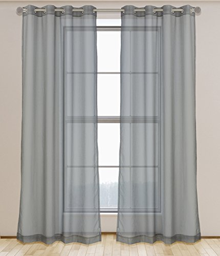 LJ Home Fashions 532 Aura Sheer Elegant Voile 2 Piece Grommet Curtain Panel Set, 54