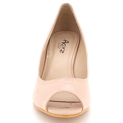 AARZ LONDON Womens Ladies Peeptoe Shiny Evening Party Casual Comfort Wedge Heel Slip On Sandals Shoes Size Beige HOjPns
