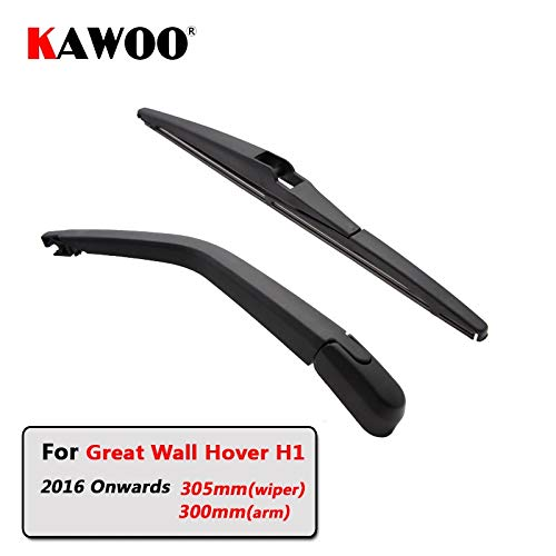 Wipers Hukcus Car Rear Wiper Blade Back Window Wipers Arm For Great Wall Hover H1 (2016 Onwards) 305mm Auto Windscreen Red LOGO Model - (Item Length: Single rear wiper)