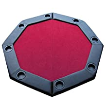 Brybelly GPTT-102 Felt Folding Octagon Poker Table Top with Cup Holders and Padded Rail (Red, 48-Inch))