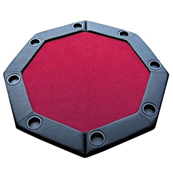 Good 48u0026quot; Red Felt Folding Octagon Poker Table Top W/ Cup Holders U0026 Padded  Rail