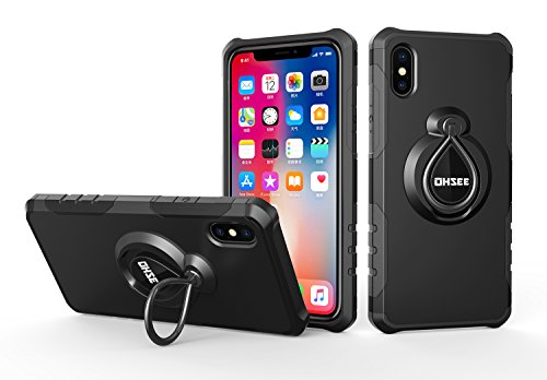 iPhone X Case, iPhone 10 Case, with 360 Degree Rotating Kickstand features with Magnetic Car Mount Built-in Ring Holder Heavy Duty Protection for iPhone X 5.8 inches(Black) ()