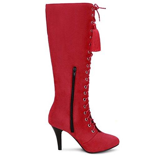 Hauts Automne Red Classique Bottes Femmes Taoffen Fermeture Talons Eclair Hiver 1458 Fringe Longue BqCx4X