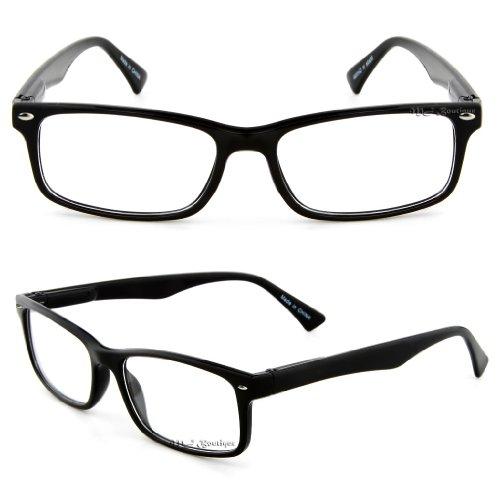 Retro Horned Rim Retro Classic Nerd Glasses Clear Lens (Rectangle Black, (Cute Nerds For Halloween)