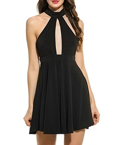 Cotton Mesh Halter Dress (Zeagoo Women's Halter Backless Hollow Out Dress Mesh Patchwork Mini Dresses)