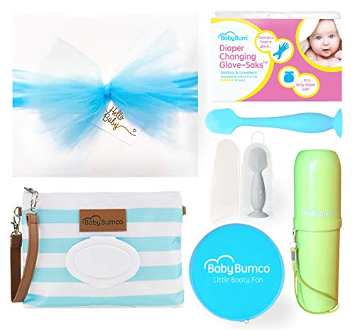 - Boy Baby Bumco Gift Box - Pre-Wrapped & Ready - Diaper Clutch, Diaper Cream Brush, Mini Diaper Cream Brush, Little Booty Fan, and Gloves! (Blue)