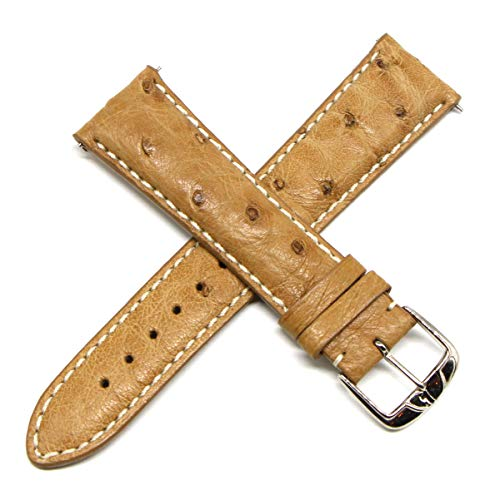 Lemans Jacques Watches Men - Jacques Lemans 22MM Genuine Ostrich Leather Watch Strap TAN w/Silver JL Initial Stainless Steel Buckle