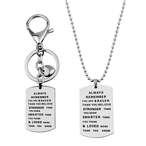 WUSUANED Remember Inspirational Necklace Keychain product image