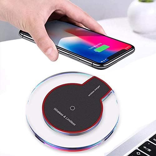 Clearance Sale!UMFun Ultra-thin Clear Mini Qi Wireless Charger Charging Pad for Iphone XS/XS Max/XR (Black) ()