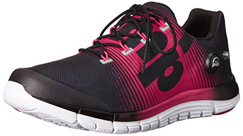 Reebok Women's Zpump Fusion Running Shoe, Black/Blazing Pink/White, 12 M US