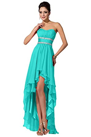 DINGZAN Chiffon Wedding Guest Bridesmaid Dresses Prom Gowns High Low ...