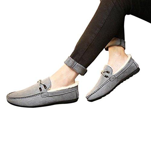 Hzjundasi Hombres Mocasines de ante de invierno Mocasines planos con suela de goma Zapatos bajos Zapatos de piel gris