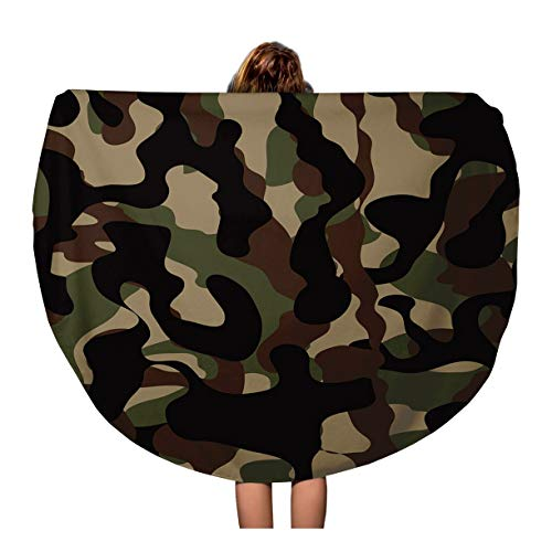 (Pinbeam Beach Towel Camouflage Pattern Military Four Colors Woodland Classic Masking Travel 60 inches Round Tapestry Beach Blanket)