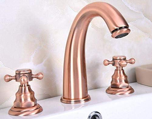 Yadianna ホットとコールドミキサータップシンクの蛇口ダブルハンドル3穴の浴室の洗面台の蛇口のための蛇口アンティークレッド銅の浴室の蛇口