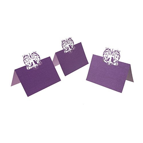 UNIQLED Pack of 60 Laser Cut Perfect Pair Love Birds Paper Wedding Table Numbers Place Card Escort Name Cards for Wedding Party Decoration (Purple)