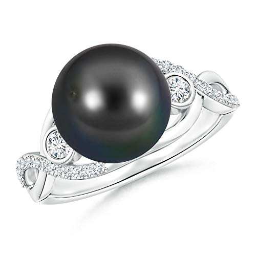 - Tahitian Cultured Pearl and Diamond Infinity Ring in Silver (10mm Tahitian Cultured Pearl)