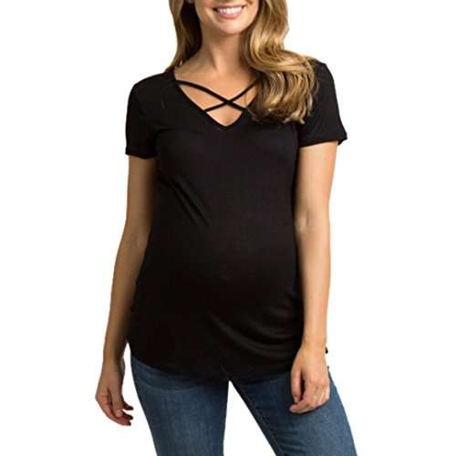 vermers Womens Blouse Shirt Maternity Patchwork Cross Tops Pregnancy Clothes Top (M, Black)