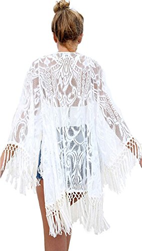 Upopby Womens Lace Beachwear Cover Up Swimwear Swimsuit Bikini Kimono Cardigan M
