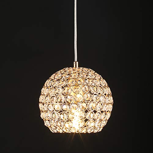 Wtape Modern1-Light Crystal Mini Semi-Circle Pendant Lighting, Gold Pendant Light Fixture with 59'' Adjustable Cord