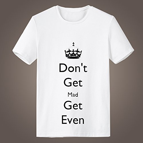 Generic Don't Get Mad Get Even Logo Shooting Game Short Sleeve High Quality O-Neck T Shirt for Men (White, L)
