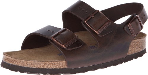 Birkenstock Unisex Milano SFB Flat, Brown Amalfi Leather, 43 BR/10 M US (Birkenstock Milano Leather)