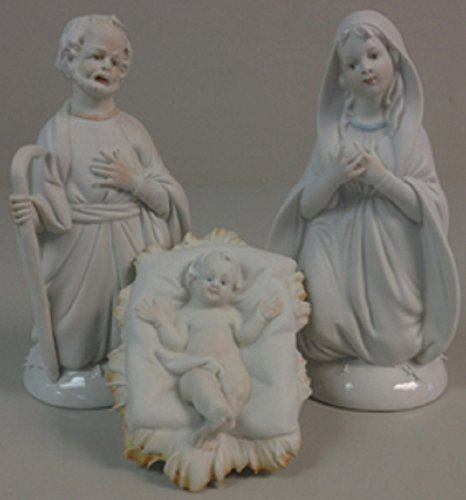 Porcelain Holy Family, lightly painted features, 3 pc's, 5.5 inches. Made in Italy. by GSV001