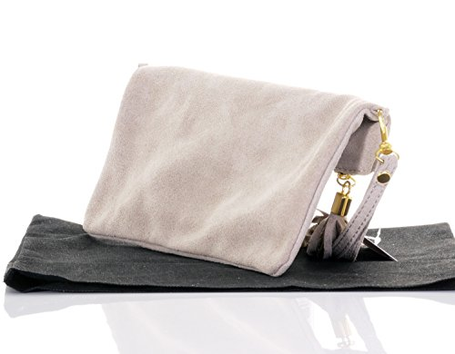 Hand Bag or Bag Clutch Wrist Beige Light Branded Suede Protective Storage Leather Shoulder Italian Made Over Fold qEpfw4g