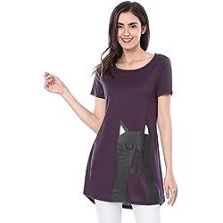 Allegra K Women's Cat Print Short Sleeves Loose T-Shirt Tunic Tee L Purple